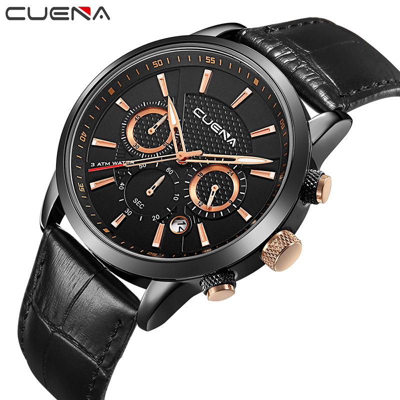CUENA Brand Fashion Casual Watches Men Watch Genuine Leather Relojes Waterproof Quartz Wristwatches Man Clock Relogio Masculino 1000pcs non insulated ring terminals rnbl 1 25 4