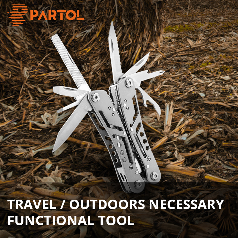 Partol 24 In 1 Multitool Pliers Multifunction Pocket Folding Knife Wire Cutter Outdoor Car Hand Tool Scissors Screwdriver Kit
