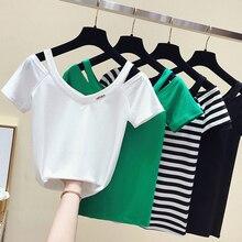 Shintimes полосатая футболка женская тенниска с треугольным вырезом хлопок Топ летний короткий рукав женские футболки футболка Женская сорочка Femme