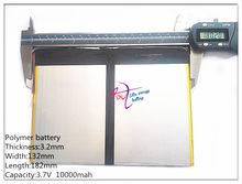 32132182 lithium ion batteries tablette PC talk9x u65gt batterie Rechargeable 3.2*132*182 3.7 V 10000 mah li-ion batterie 'pour