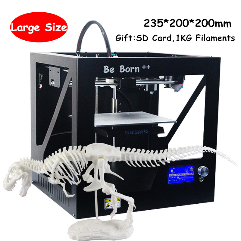 DHL Free Portable Be Born Sheet Metal Box Type 3D Printer With Free Filament Line/Off-line Printing 3D Printer With LCD Screen full metal frame heated bed 3d printer professional 3d color printer with 2gb sd card lcd 40m filament for free