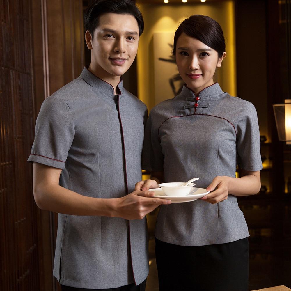 High Quality Hotel Work Clothing Men And Women Summer Hotpot Staff Uniforms Restaurant Gray Retro Waiter Uniforms Chinese Shirt