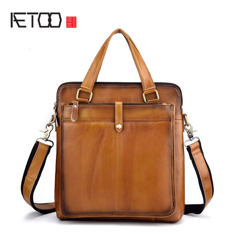 AETOO Retro mens shoulder bag messenger bag Hand-coloured leather mens handbag Casual mens bagAETOO Retro mens shoulder bag messenger bag Hand-coloured leather mens handbag Casual mens bag