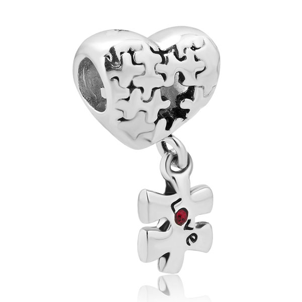 2a6acf4127657 Free shipping 1PC Puzzle Heart Charm Bracelet Dangle Love Red ...