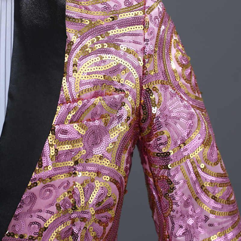 メンズピンクゴールド花スパンコールブレザー 1 ボタンスリムフィット男フォーマル結婚式の Dj クラブステージパフォーマンススーツジャケット蝶ネクタイ