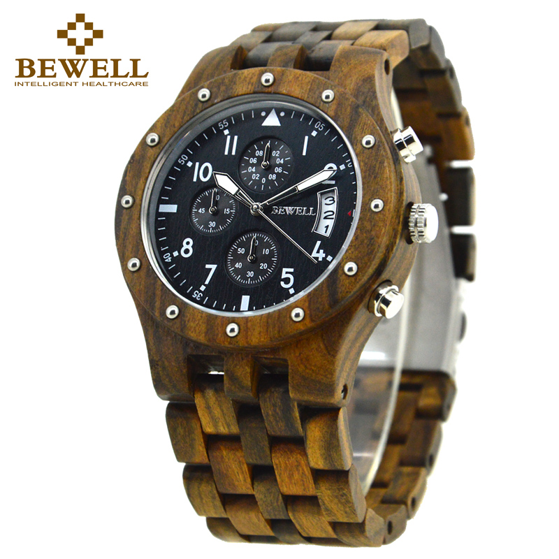 BEWELL wood watch men Sport Watch Display Date mens watches top brand luxury horloges mannen with Paper Box 109D fashion men s horloges mannen roman auto day quartz stopwatch sport men s watch mens wirst watches gift box free ship