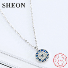 SHEON Authentic 100% 925 Sterling Silver Lucky Blue Eye Clear CZ Pendant Necklace Women Luxury silver Jewelry Gift