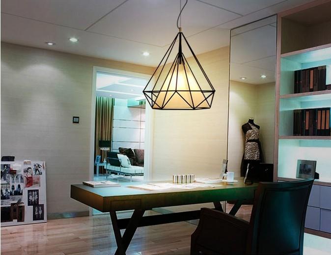birdcage chandeliers Scandinavian modern minimalist art pyramid iron chandelier creative restaurant lights (9)