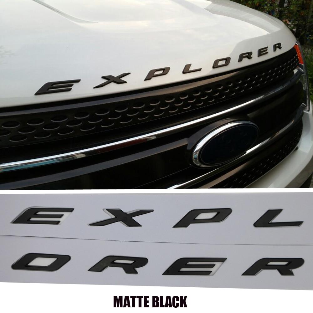 Black/Silver For 2011 2012 2013 2014 2015 2016 Ford Explorer Sport DIY 3D EXPLORER Fix Letters Hood Emblem Chrome Logo Sticker high quality car styling front or back explorer sticker letters emblem logo for ford explorer badge emblem auto accessories
