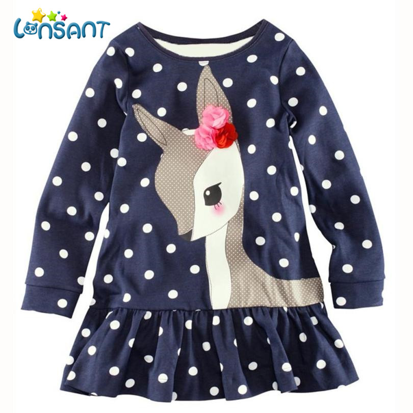 LONSANT Dresses Girl Clothes Bebe Cute Vestido Long Sleeve T-Shirt Dress Winter Birthday Dress Vestido Infantil Dropshipping De5 цена 2017