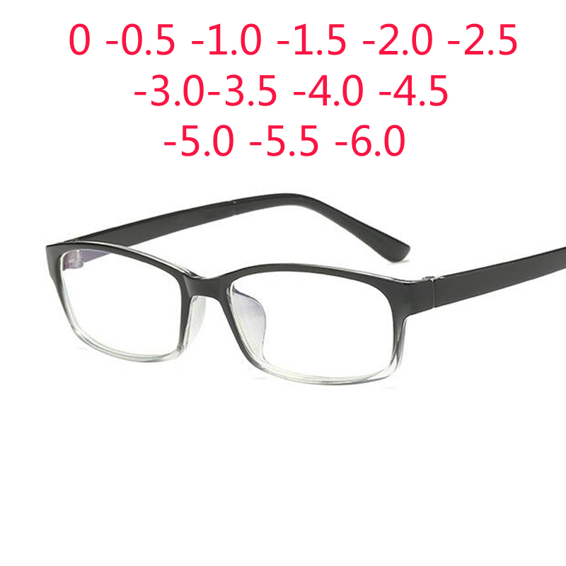 Anti Blue 0 -1 -1.5 -2 -2.5 -3 -3.5 -4 -5 -6 Finished Myopia Glasses Men Short-sight Eyewear Black Transparent Frame Women