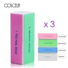 COSCELIA 3 шт./лот инструменты для ногтей полировочные блоки четыре стороны ногтей буфера и пилки полированный совершенство