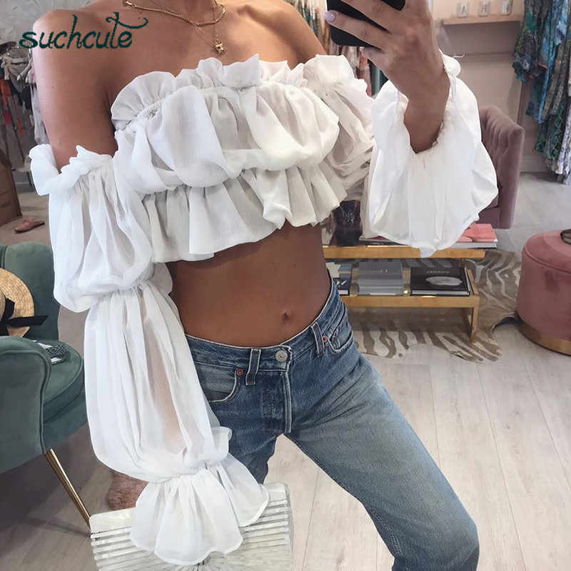 SUCHCUTE Blouse Women One Shoulder Chiffon White Lace Flod Tops Female Summer 2019 Korean Style Modis Harajuku Gothic Haut Femme