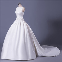 MDBRIDAL Soft Satin Ball Gown Wedding Dress with Detachable Tail Lace-up Women Bridal Gown