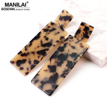 MANILAI Rectangle Acrylic Long Dangle Earrings Big Geometric Acetate Tortoiseshell Earrings For Women Statement Leopard Jewelry(China)