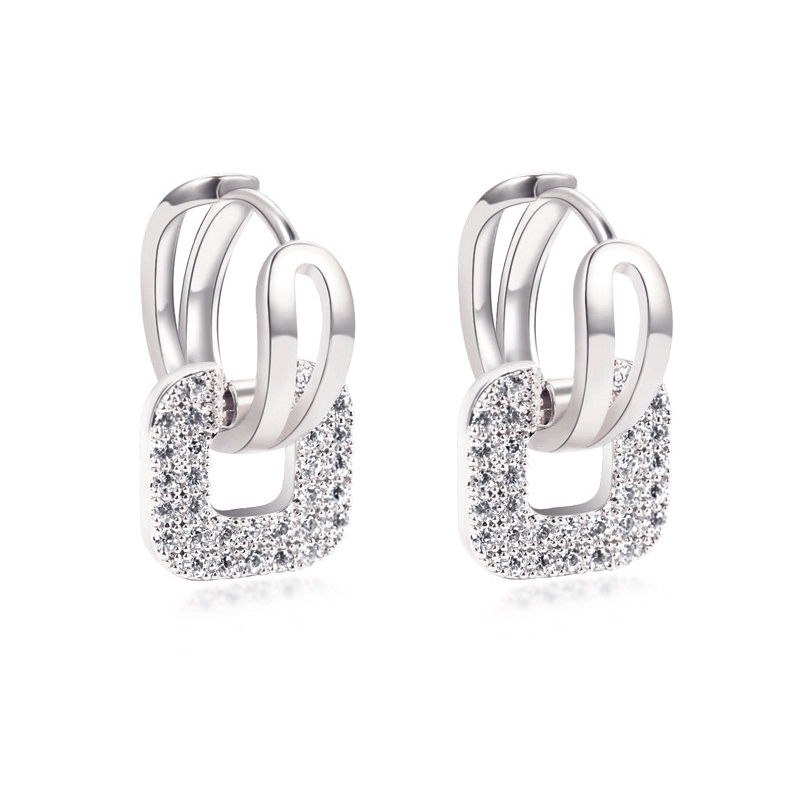 lnrrabc crystal square stainless steel rose gold silver color hoop earrings for women fashion