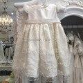 2016 Шику Жемчуг девочки Крещение платья крещение платья для девочки мальчики малышей снаряжение короткими рукавами 1 год День Рождения платье