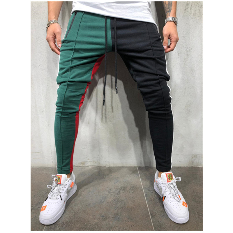 Men's Casual Sports Pants Patchwork Color Hip-hop Fitness Pants 2019 New Style