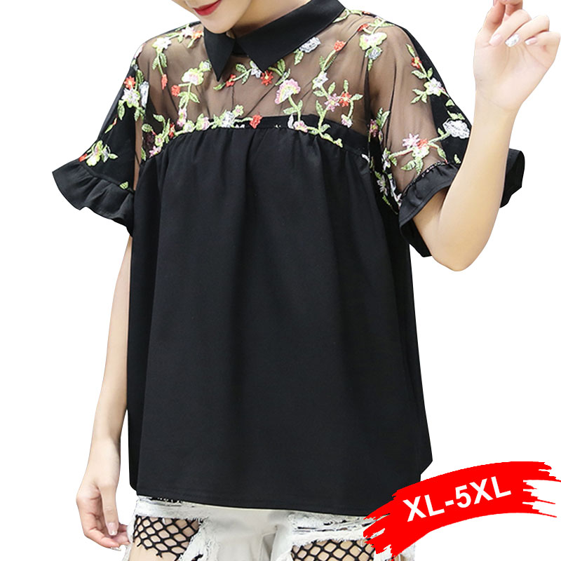 Flower Embroidered Mesh Black   Blouse   4XL 5XL Bow Back Peter Pan Collar Short Sleeve Chiffon   Blouses     Shirts   Femme Casual Blusas