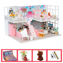 цена на kids doll house toys wooden kitchen bed led light miniature model furniture diy dollhouse kit  baby doll oyuncak bebek evi