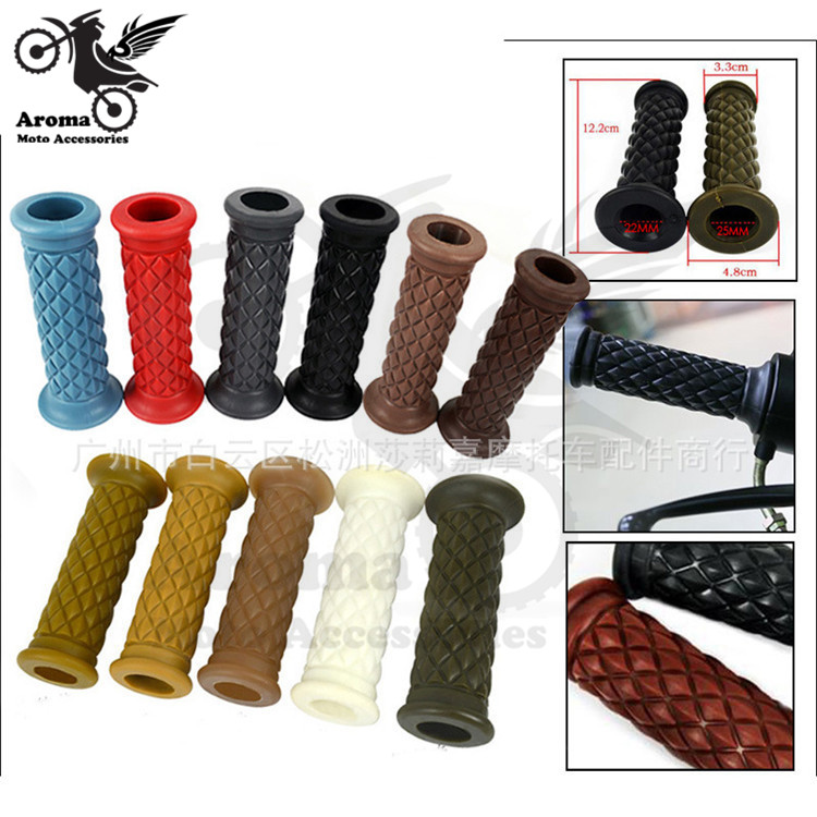 11 colors available hot retro colorful decal 22MM 25MM rubber motorbike handle grip for Harley motorcycle handlebar moto grips