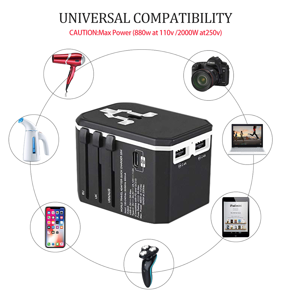 Image 4 - Rdxone Universal Travel Adaptor All in one Power Adapter wall Electric Plugs Sockets for Mobile Phone, Tablet, Camera, Laptop-in International Plug Adaptor from Consumer Electronics