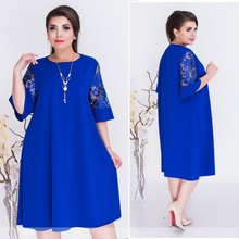Plus Size Mulheres Roupas de Verão 2018 Vestido Azul Uma Linha Solta As Mulheres Se Vestem Vestido 5XL 6XL Grande Vestido de Renda Informal na Praia vestidos
