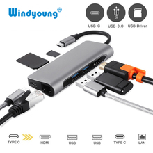 7 IN 1 USB C HUB USB-C HDMI 4K Gigabit Ethernet Rj45 Adapter  USB 3.1 SD/TF Card Reader for MacBook Pro iPad Type C Hub Hdmi USB цена и фото