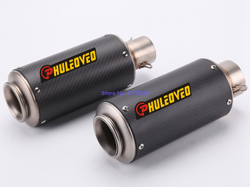 PHULEOVEO Inlet 51mm 60mm Carbon Fiber Motorcycle Exhaust Muffler Pipe Motorbike Modified Muffler Exhaust Pipe Escape Damper