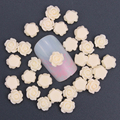 50Pcs/Lot 3D Charm Nail Art Jewelry 6mm Nude Color Resin Rose Flowers Decoration For Nail Stud DIY Glue Nail Art Accessory PJ209