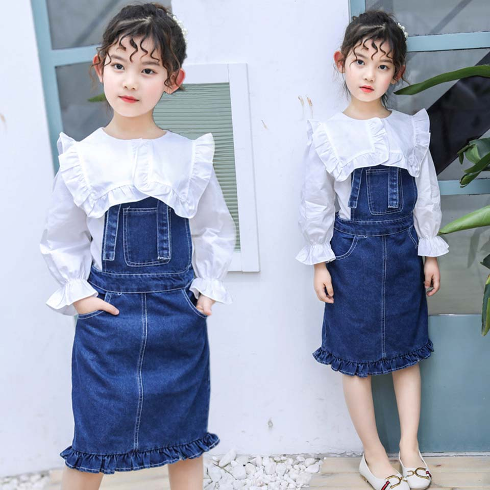 2018 Summer Girls Clothing Sets Teenage Kids Clothes Suit White Tops +Denim Skirts 3-12 years 2pcs Children Clothing Sets2018 Summer Girls Clothing Sets Teenage Kids Clothes Suit White Tops +Denim Skirts 3-12 years 2pcs Children Clothing Sets