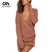 Caya коробка V Средства ухода за кожей Шеи крест Платья-свитеры Женская одежда для дамы свободные плюс Размеры трикотажные Женщина Свитер Пуловеры для женщин с длинным рукавом