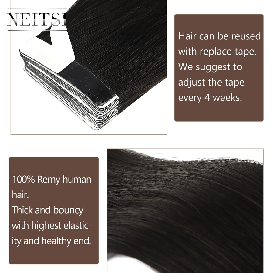 Neitsi Luxury Tape In Remy Human Hair Extensions Double Drawn Adhesive Straight Skin Weft Hair 20'' 2.5g/pc 60PCS 80PCS
