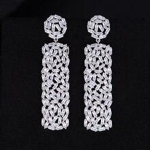 купить SISCATHY Famous Brand Luxury Cubic Zirconia Big Stud Cuff Ear Earrings Baguette Stones Shinning Wedding Earrings 5.3CM * 1.4CM дешево