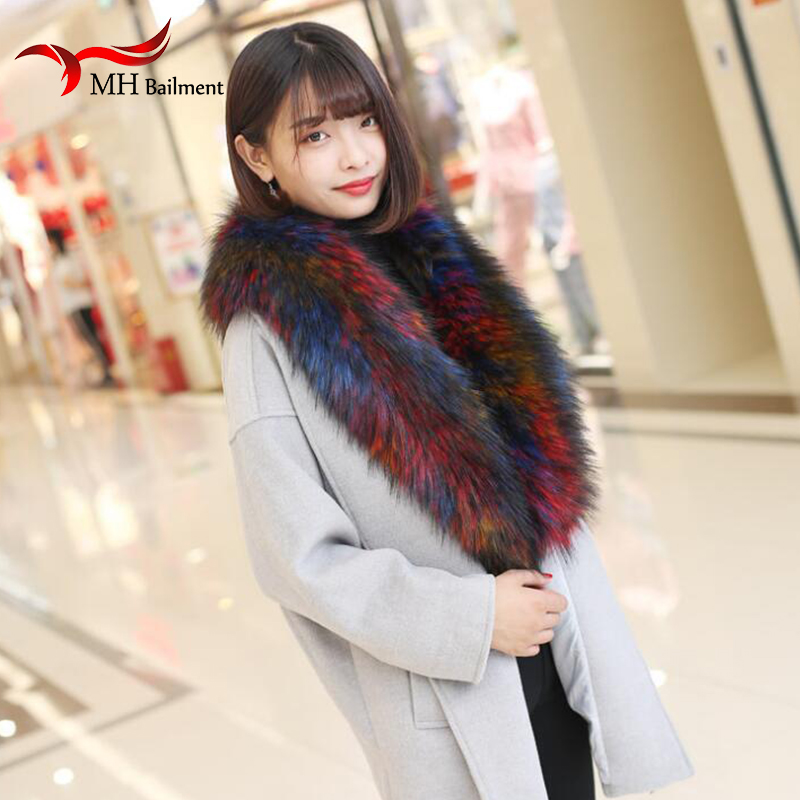 Women Winter Scarf Faux Fur Scarf Brand Coat Hood Fur Collar Decor Shawl Multicolor Fake Girl Neckerchief Scarf Hat Glove Sets 0