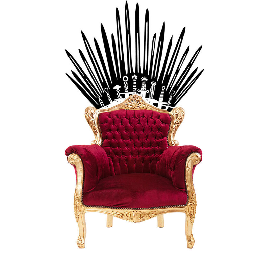 New design toilet decor vinyl iron throne wall decals for New design home decoration