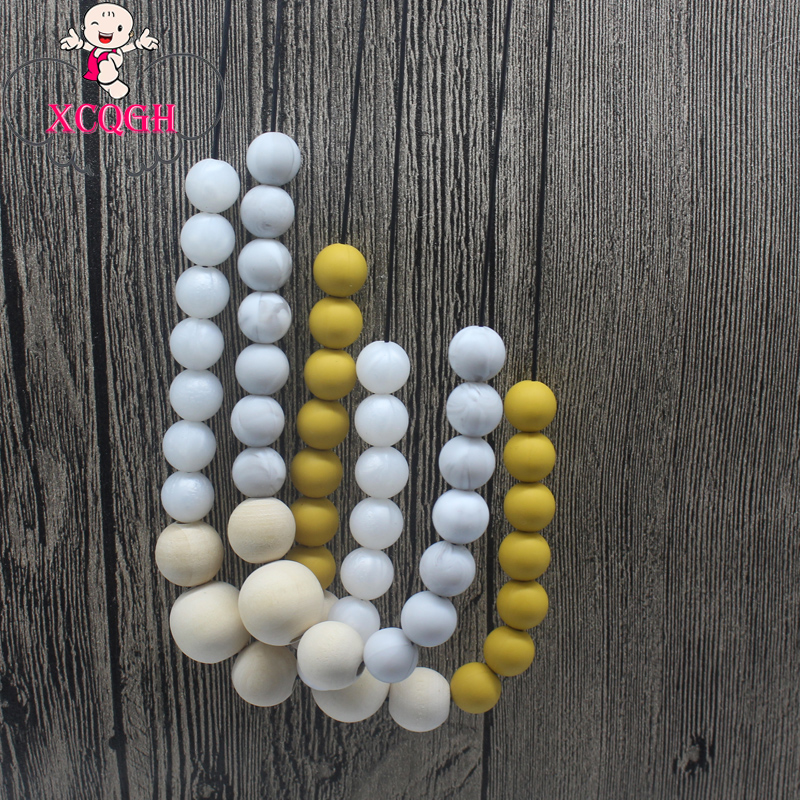 XCQGH Silicone Teething Necklace Wooden Beads Marble Silicone Beads Nursing Necklace Jewelry Teether Chewing Beads