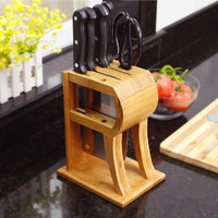 Natural bamboo Knife holder multifunction Knife Holder For metal Knife Bamboo Knife Block Stand Kitchen Accessories D2