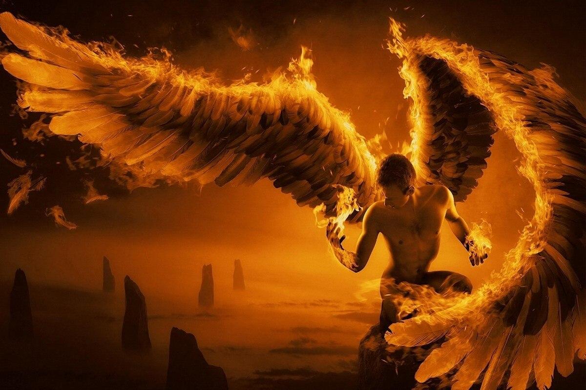 Огонь человек Ангелы Крылья DY071 гостиной Главная Wall Art декор деревянной раме ткань плакаты