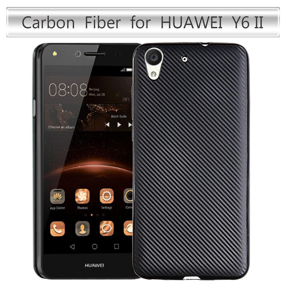 Casos de teléfono para huawei y6 ii y6ii y6 2 case cubierta de Fibra De carbono