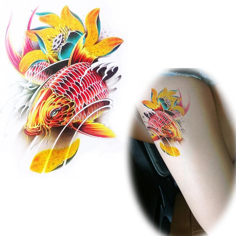 colorido patrn de la carpa china auspicioso smbolo etiqueta tatuajes de loto koi tatuajes temporales
