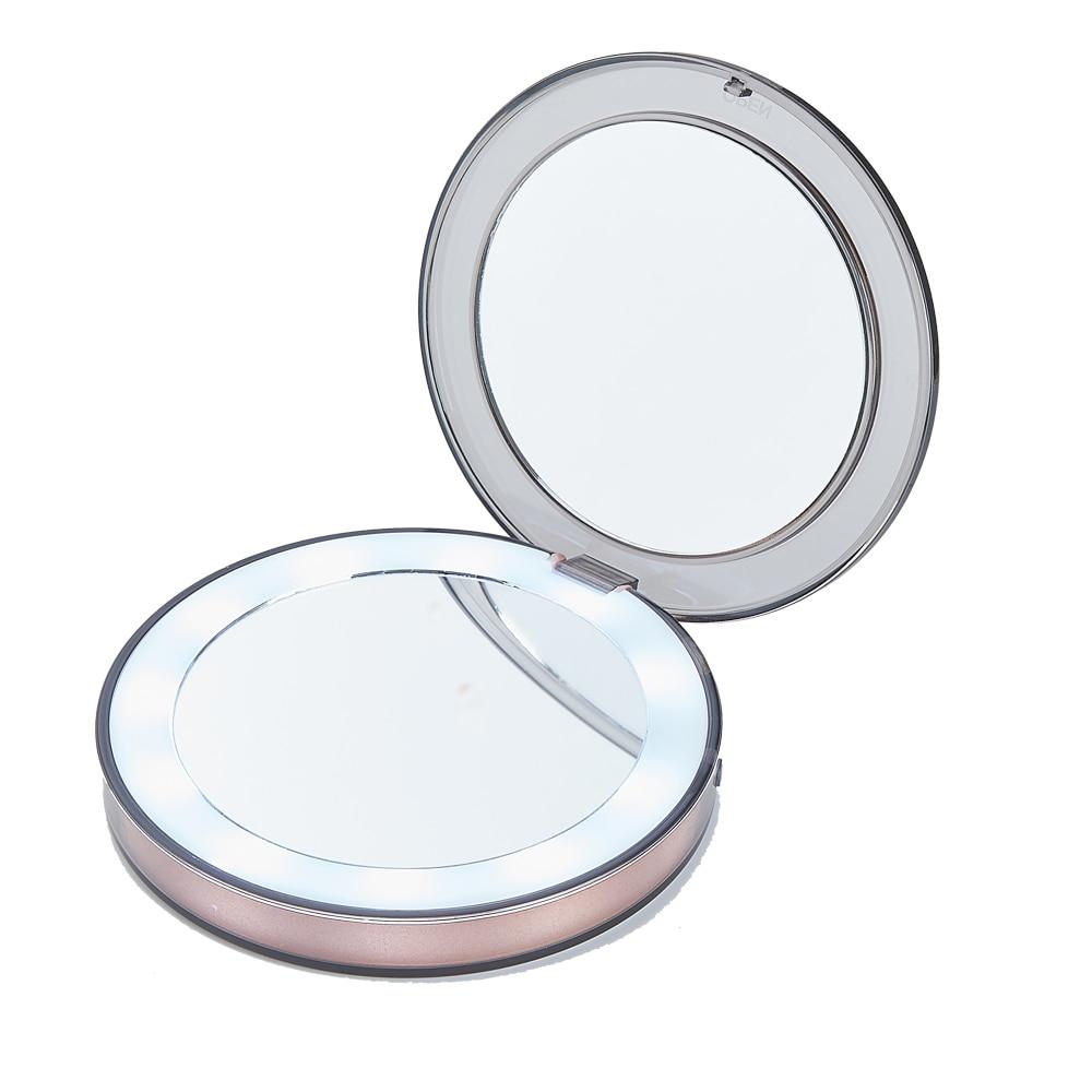 100% Wahr Tragbare 10 Led-leuchten Mini Make-up Spiegel 1x 3x Vergrößern Reise ätherisches Micro Usb Verbinden Kabel Eingebaute Batterie Hand Spiegel Farben Sind AuffäLlig