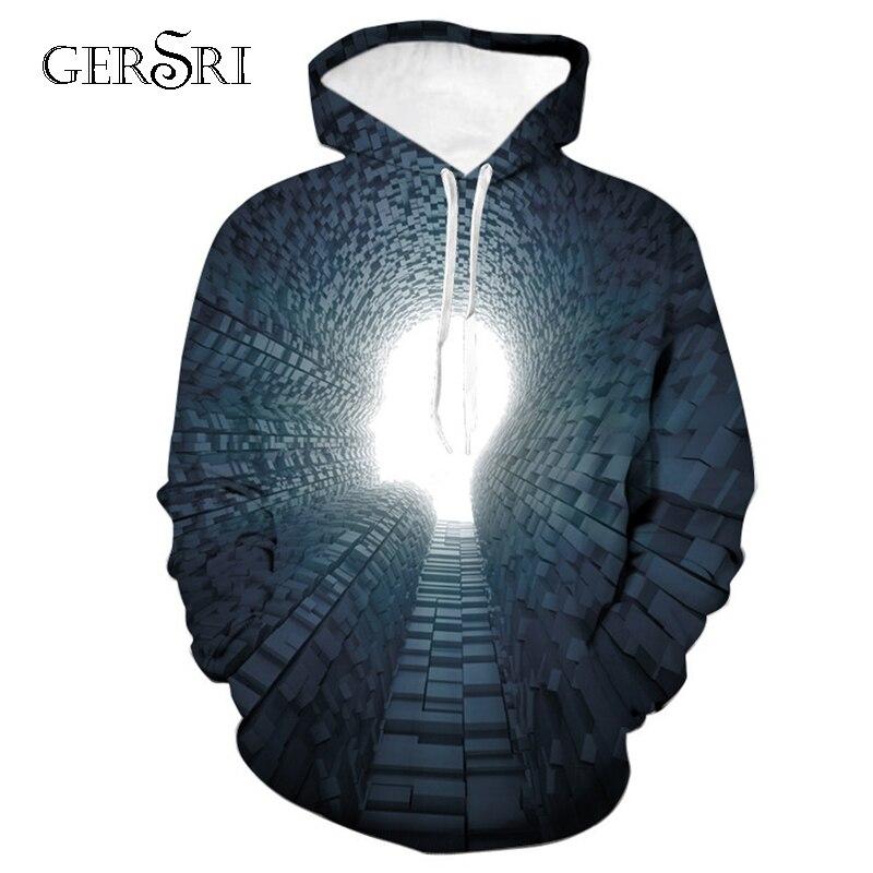 Gersri New village printed Mens hoodie autumn Winter hip hop hoody Tops Casual Brand 3D  Hoodie Sweatshirt Dropship big size