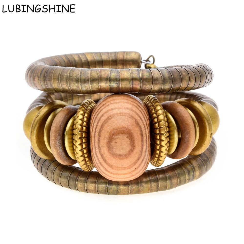 LUBINGSHINE Vintage Multilayer Gelang Rantai Manik-manik Kayu Antique Bronze Tone Adjustable Bangles Untuk Wanita Perhiasan B591