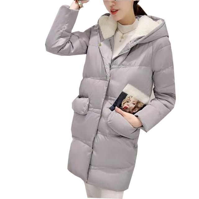 2016 inverno engrossar as mulheres para baixo algodão-acolchoado do revestimento das mulheres amassado outerwear jaqueta casual longo plus size jaqueta com capuz kp0764