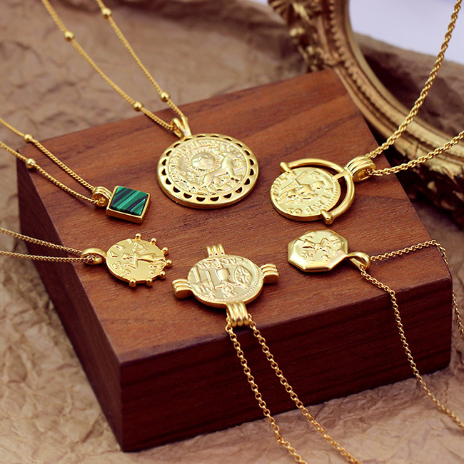 New copper gold coin necklace European and American style Asian clavicle coin coin chain