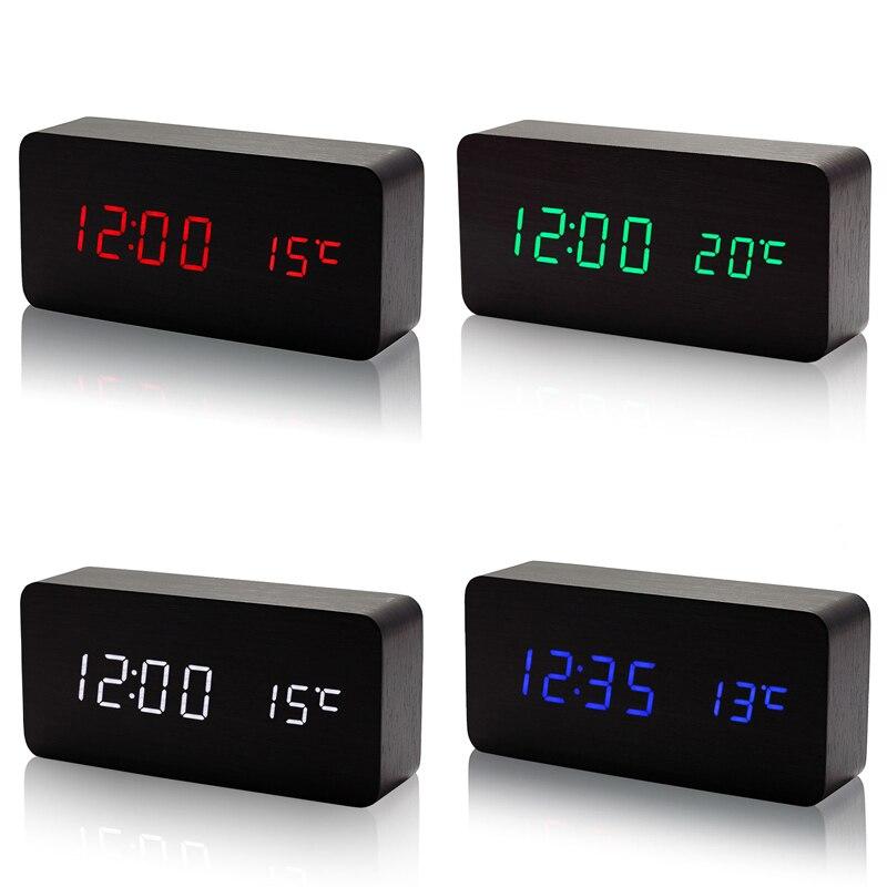 Desktop Digital Alarm Clock Electronic Table LED Display Wooden Clocks with Temperature Sounds Control Calendar