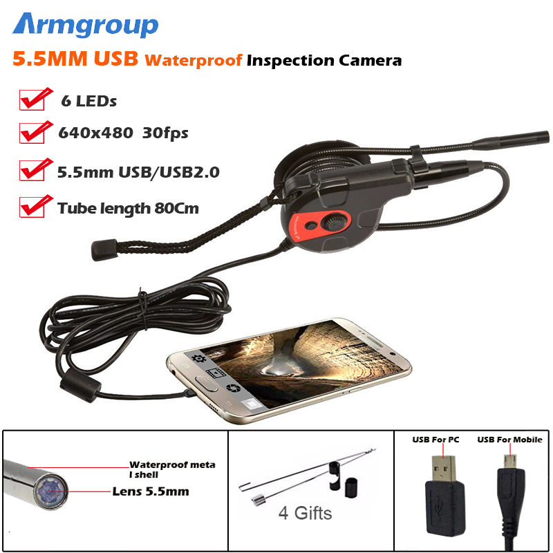 Armgroup 5.5mm USB Endoscope Car Inspection Snake Tube Boroscope Camera Borescope IP67 Waterproof USB Android Endoskop Camera