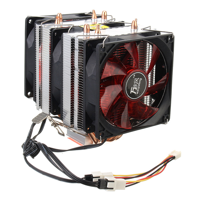 Aluminum Heatsink Red LED Three CPU Cooler Fan 4 Copper Pipe Cooling Fan for Intel LGA775 / 1156/1155 AMD AM2 / AM2 + / AM3 ED pcooler s90f 10cm 4 pin pwm cooling fan 4 copper heat pipes led cpu cooler cooling fan heat sink for intel lga775 for amd am2