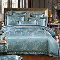 Queen King Size Blue Bedding Sets 100 Cotton Design For Adults Cozy And Beautiful Jacquard Duvet